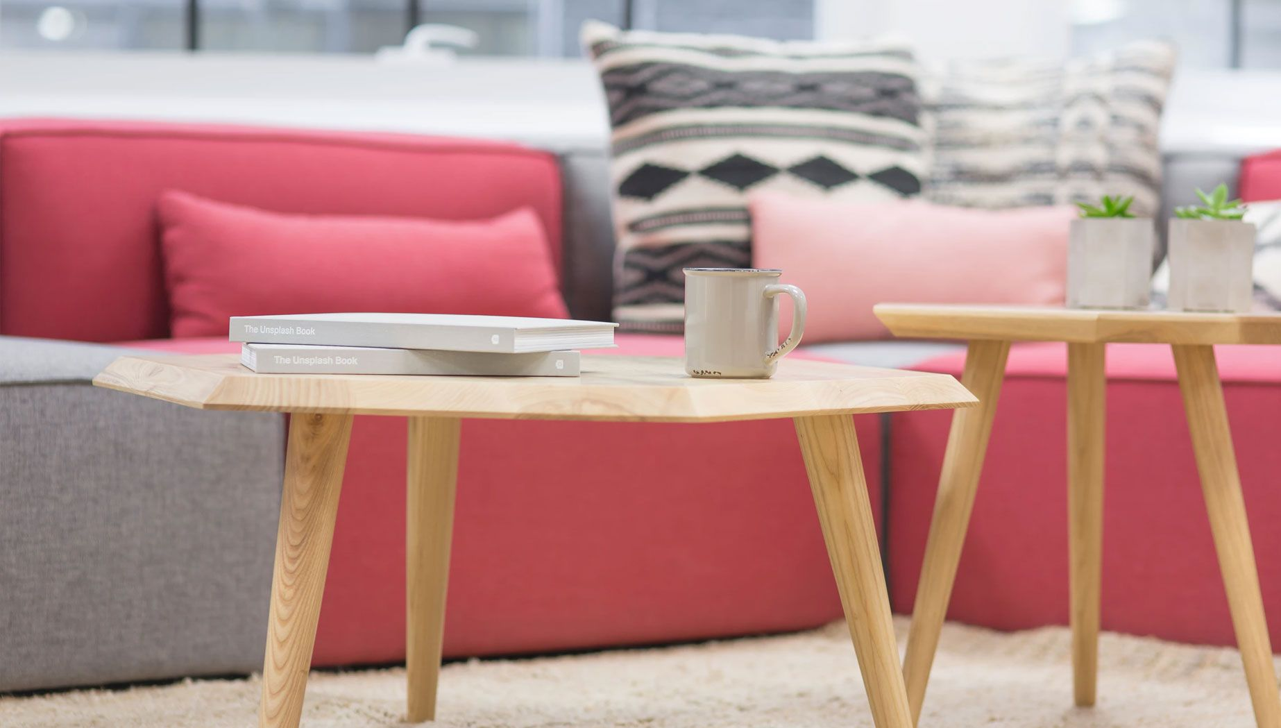 Wooden Table with Books & Mug